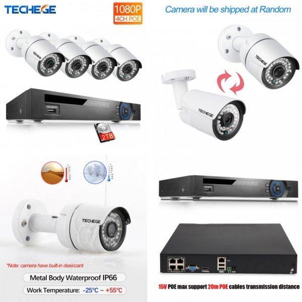 Качественная система видеонаблюдения с жестким диском 2Тб Techege (4CH 15V 1080P HDMI NVR)