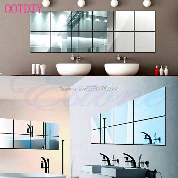 Самоклеящиеся зеркала от OOTDTY (16 шт, 15 см * 15 см)