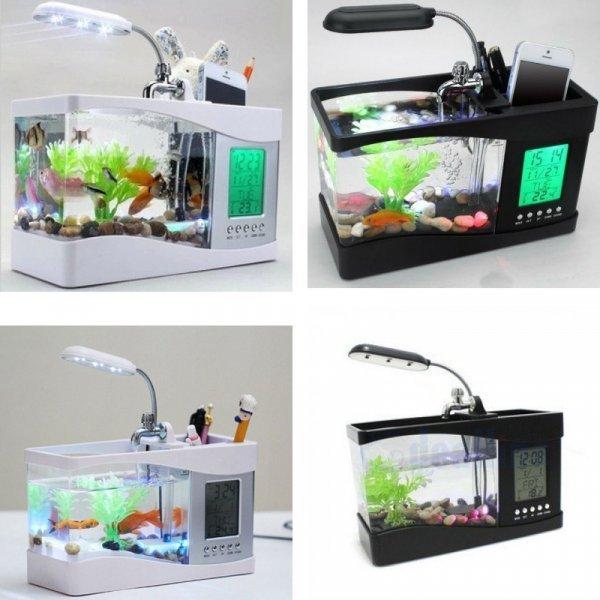 Настольная лампа с аквариумом и часами от MLING (2 цвета)
