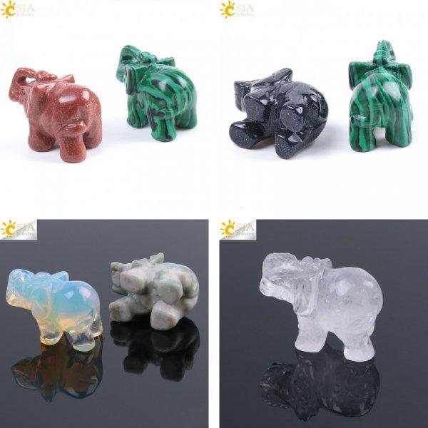 Талисман здоровья и долголетия - слон от CSJA (5 видов, натуральный камень)